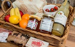Welcome basket with local produce