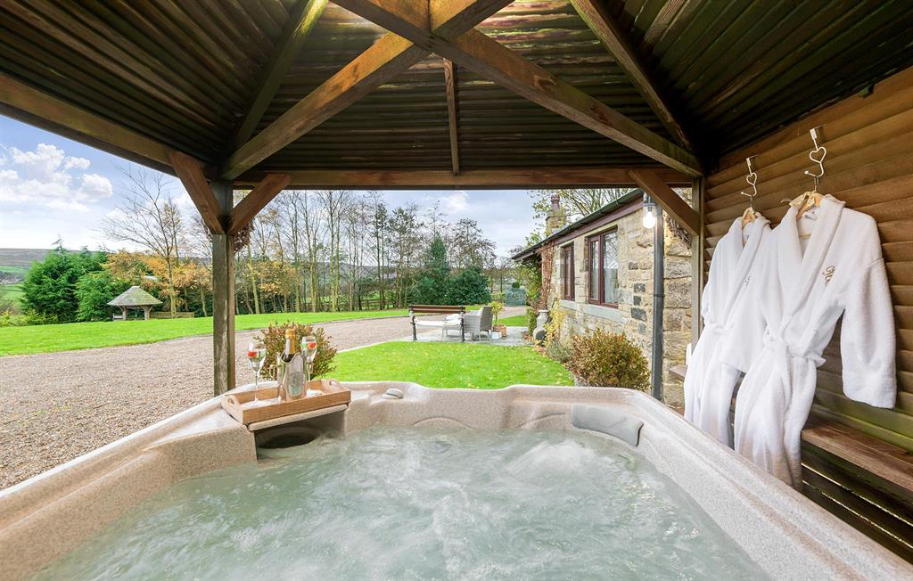 Hot tub views at Higher Scholes Cottage