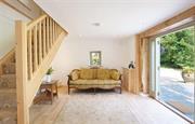 Living room with patio doors open