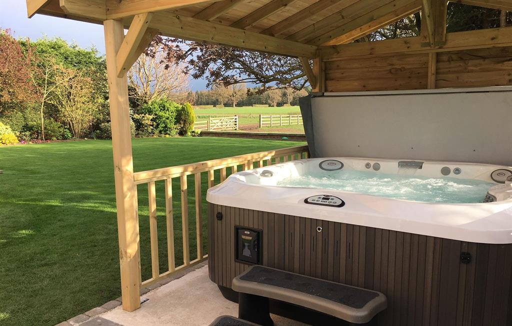 Sink into the bubbling hot tub