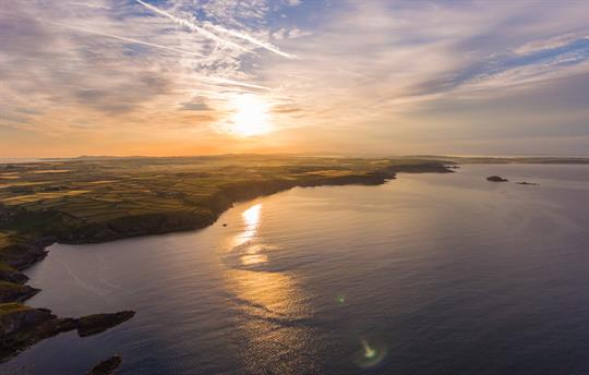 North Pembrokeshire coastline at sunset