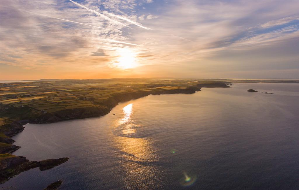 North Pembrokeshire coastline at sunset