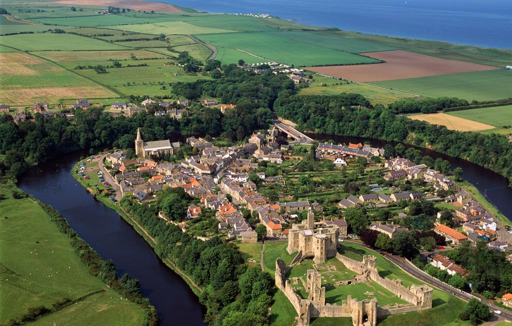 Historic Warkworth village, river and the sea