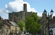 Warkworth Castle from village centre