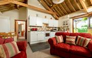 High raftered roof with mellow exposed beams