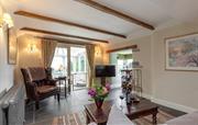 Slate floor and oak beams in the living room