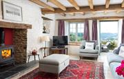 Living room with cosy log burner