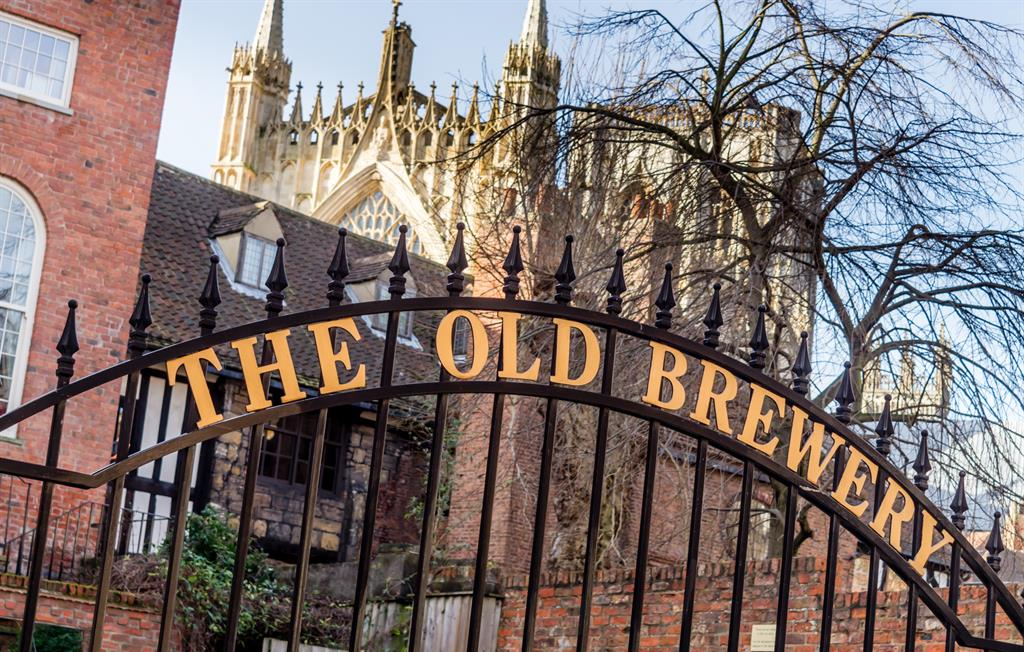External view of York Old Brewery and York Minster