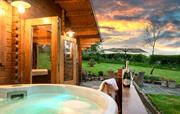 Cabin hot tub at dusk