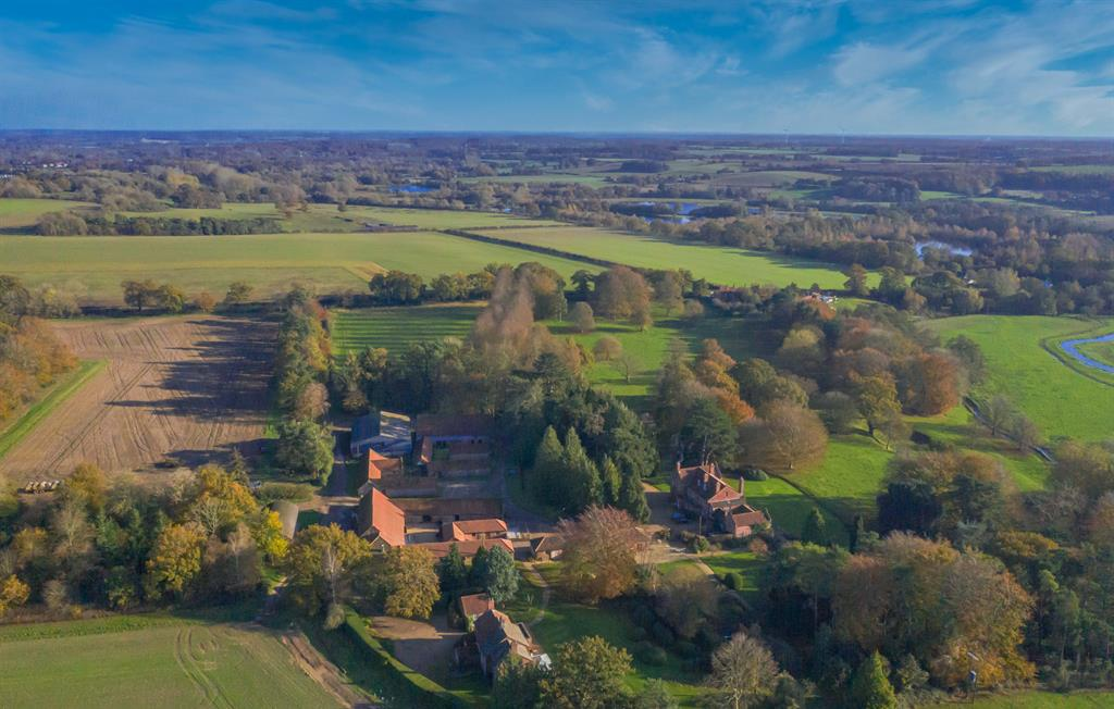 Sparham Hall Farm Cottages and the Wensum Valley.