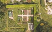 Ariel view of vegetable and cutting garden
