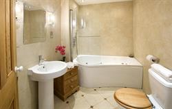 Whirlpool bath with overhead shower