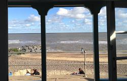 out from Southwold beach hut