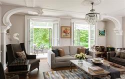 Living room with door to terrace.