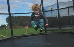 Having best fun on the trampoline