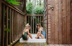Playing in the outdoor shower