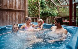 Family in the hot tub