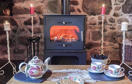 Warm fire in the multi fuel stove