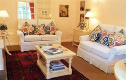 Comfortable sofas and warm lighting