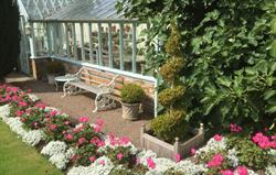 Relax in the furnished glasshouse